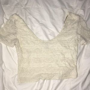 off white lacy crop top